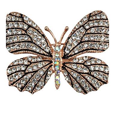 Pentru femei Broșe Ștras Design Animal Aliaj Fluture Animal Auriu Bijuterii Pentru Petrecere Casual Serată Birou și carieră Anul Nou