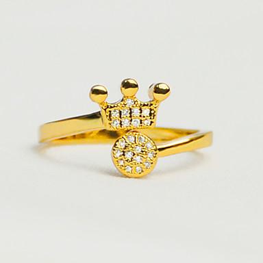 Pentru femei Lux Diamant sintetic Placat Auriu Crown Shape manşetă Ring - Rotund / Crown Shape Lux / Vintage / Iubire Auriu Inel Pentru