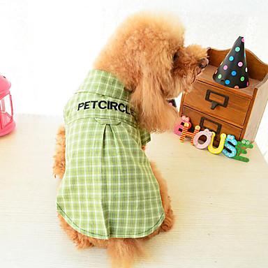 Hond T-shirt Hondenkleding Geruit Geel Groen Katoen Kostuum Voor huisdieren Heren Dames Casual/Dagelijks