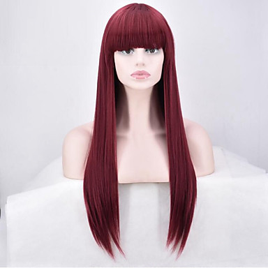 Perruque Synthétique Femme Droit Rouge Cheveux