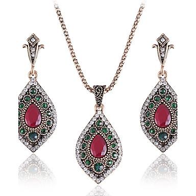 Pentru femei Cercei Picătură Coliere cu Pandativ Diamant sintetic Sintetic Emerald Smarald Aliaj Geometric Shape Lux Clasic Vintage