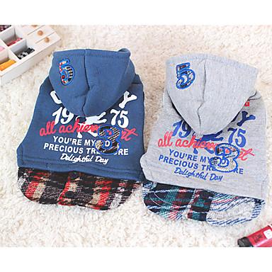 Hond Hoodies Hondenkleding Letter & Nummer Grijs Blauw Katoen Kostuum Voor huisdieren Casual/Dagelijks