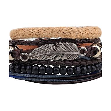 Men's / Women's Strand Bracelet / Wrap Bracelet / Leather Bracelet - Leather Feather Personalized, Vintage Bracelet Black For Daily / Stage / Street