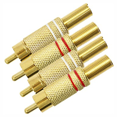 2RCA Adapter, 2RCA to 2RCA Adapter Male - Male Vergoldetes Kupfer