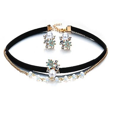 Damen Synthetischer Diamant Imitierte Perlen Schmuck-Set - Modisch Blume Ohrstecker Anhängerketten Für Party Geschenk Alltag