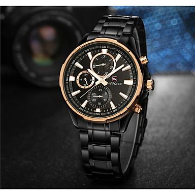 NAVIFORCE Bărbați Ceas Elegant  Ceas La Modă Japoneză Quartz Rezistent la Apă Oțel inoxidabil Bandă Lux Cool Negru