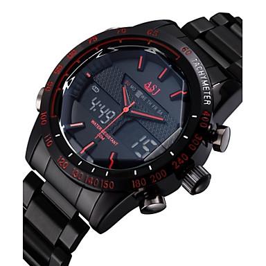 Недорогие Часы на металлическом ремешке-ASJ Муж. Наручные часы электронные часы Нержавеющая сталь Черный 30 m Защита от влаги Будильник Календарь Аналого-цифровые Роскошь - Черный Красный Синий Два года Срок службы батареи / Секундомер