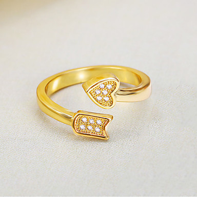 Damen Stulpring Synthetischer Diamant Luxus Retro Liebe Modisch Einstellbar Elegant vergoldet Irregulär Herz Schmuck Hochzeit Party