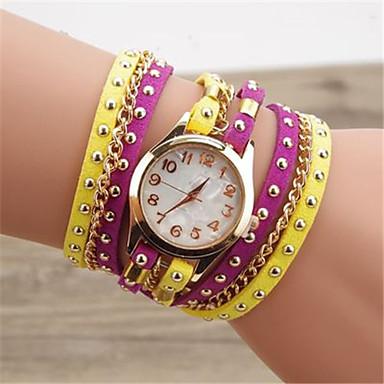 Pentru femei Ceas La Modă Quartz Piele Bandă Negru Alb Albastru Roșu Maro Verde Pink Violet Yellow