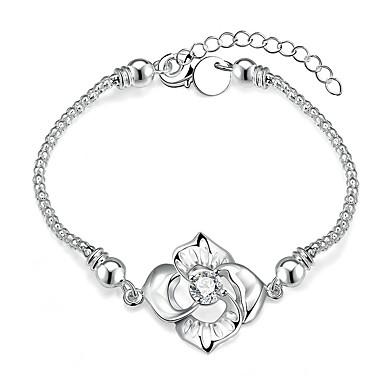 Pentru femei Fete Cristal Cristal Argilă Floral Floare Brățări cu Lanț & Legături - Floral Γεωμετρικά Prietenie Rotund Argintiu Brățări