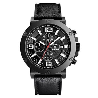LIEBIG Heren Militair horloge Polshorloge Kwarts Kalender Stopwatch Leer Band Zwart