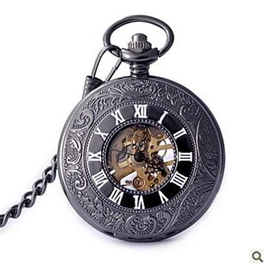 Bărbați Ceas de buzunar Mecanism automat Gravură scobită Aliaj Bandă Negru