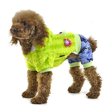 كلب حللا ملابس الكلاب كاجوال/يومي الأزهار/النباتية فوشيا أخضر أزرق كوستيوم للحيوانات الأليفة