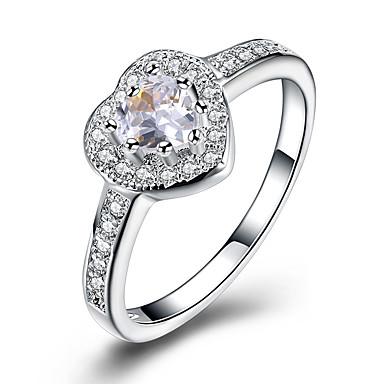 Pentru femei Zirconiu Cubic Zirconiu Inimă Band Ring - Inimă / Modă Argintiu Inel Pentru Nuntă / Petrecere
