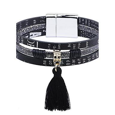 Pentru femei Franjuri Bratari din piele - Piele stil minimalist, Modă Brățări Alb / Negru Pentru Casual / Ieșire