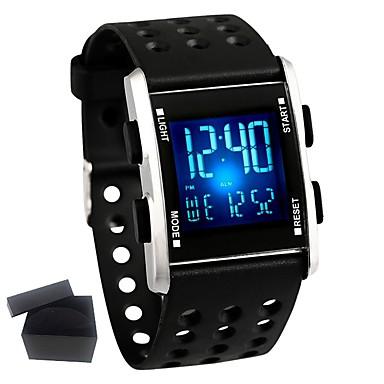 זול שעוני גברים-בגדי ריקוד גברים שעוני אופנה חכמים שעונים שעון דיגיטלי קווארץ סיליקוןריצה גומי שחור עמיד במים לוח שנה כרונוגרף דיגיטלי יום יומי - שחור / מתכת אל חלד