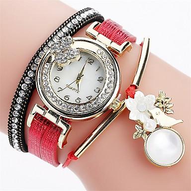 Pentru femei Ceas La Modă Ceas Brățară Simulat Diamant Ceas Chineză Quartz imitație de diamant PU Bandă Casual Boem Elegant Negru