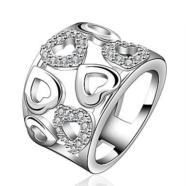 Pentru femei Band Ring Zirconiu Cubic Argintiu Zirconiu Argilă Inimă De Bază Modă Petrecere Birou și carieră Costum de bijuterii