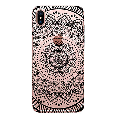 voordelige iPhone 7 hoesjes-hoesje Voor Apple iPhone X / iPhone 8 Plus / iPhone 8 Transparant / Patroon Achterkant Cartoon / Lace Printing / Bloem Zacht TPU