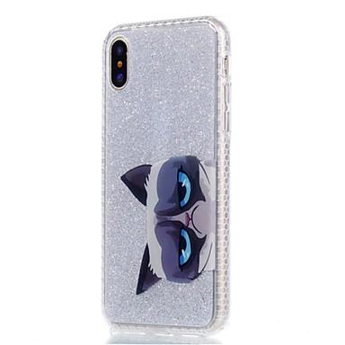Maska Pentru Apple iPhone X / iPhone 8 Plus IMD / Model Capac Spate Pisica / Luciu Strălucire Moale TPU pentru iPhone X / iPhone 8 Plus /
