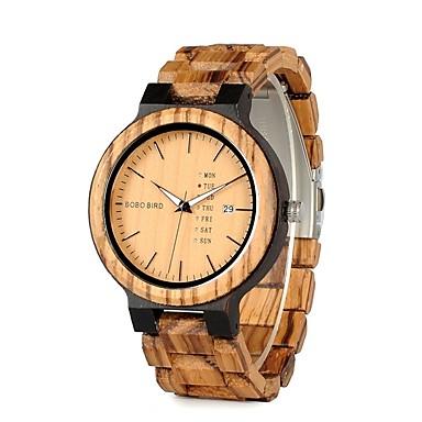preiswerte Uhren Herren-Herrn Uhr Armbanduhr Quartz Holz Braun Wasserdicht Kalender Chronograph Analog Charme Luxus Freizeit Modisch Elegant Schwarz Kaffee