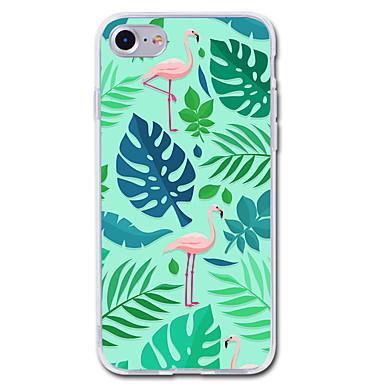 voordelige iPhone 5 hoesjes-hoesje Voor iPhone 7 / iPhone 7 Plus / iPhone 6s Plus iPhone SE / 5s Transparant / Patroon Achterkant Flamingo / dier Zacht TPU