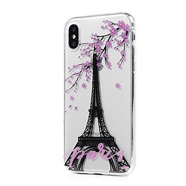 Pentru iPhone X iPhone 8 iPhone 8 Plus Carcase Huse Ultra subțire Transparent Model Carcasă Spate Maska Turnul Eiffel Copac Floare Moale
