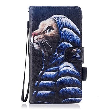voordelige Galaxy J-serie hoesjes / covers-hoesje Voor Samsung Galaxy J5 (2017) / J5 (2016) / J3 (2017) Portemonnee / Kaarthouder / met standaard Volledig hoesje Kat Hard PU-nahka