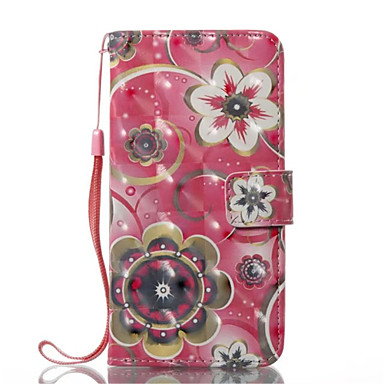 Maska Pentru Apple iPhone X iPhone X iPhone 8 iPhone 8 Plus Titluar Card Portofel Cu Stand Întoarce Carcasă Telefon Floare Greu PU piele