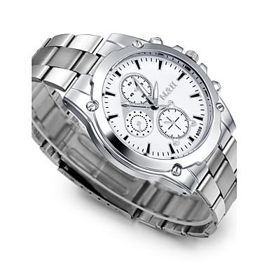 זול שעוני גברים-בגדי ריקוד גברים שעון יד קווארץ מתכת אל חלד כסף אנלוגי קסם יום יומי אופנתי שעוני שמלה - לבן שחור