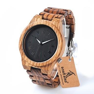 お買い得  メンズ腕時計-男性用 リストウォッチ クォーツ ウッド ブラウン 耐水 クロノグラフ付き ハンズ チャーム ぜいたく カジュアル ファッション エレガント - ブラック