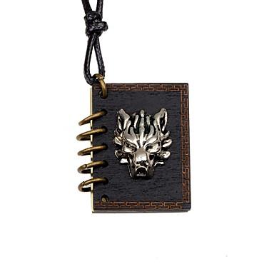 preiswerte Halsketten-Herrn Damen Pendant Halskette Medaillon Wolf Retro Hölzern Holz Aleación Schwarz Modische Halsketten Schmuck Für Party Geschenk