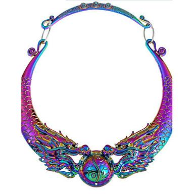 billige Mode Halskæde-Dame Syntetisk Diamant Halskædevedhæng Drage Vintage Sølv Regnbue Halskæder Smykker Til Fest Daglig