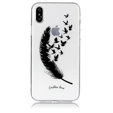 voordelige iPhone 5 hoesjes-hoesje Voor Apple iPhone X / iPhone 8 Plus / iPhone 8 Ultradun / Transparant / Reliëfopdruk Achterkant Veren Zacht TPU