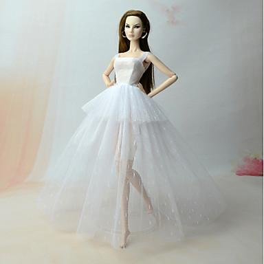 ef5d0db33b Fűzős ruhák Ruhák mert Barbiedoll Fehér Vászon / pamut keverék / Félszatén  / Tüll Ruha mert