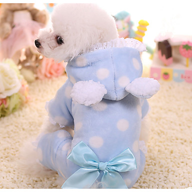 cheap Dog Clothing & Accessories-Dog Jumpsuit Dog Clothes Polka Dot Blue Pink Other Material Costume For Spring &  Fall Winter Men's Women's Casual / Daily