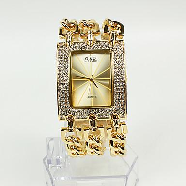 Kadın's Bilezik Saat / Moda Saat Japonca Gündelik Saatler Alaşım Bant Işıltılı Altın Rengi