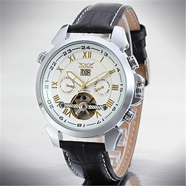 저렴한 남성용 시계-남성용 손목 시계 오토메틱 셀프-윈딩 스테인레스 스틸 가죽 달력 멋진 아날로그 클래식 캐쥬얼 패션 - 블랙 / 실버 로즈 골드 / 화이트 블랙 / 로즈 골드