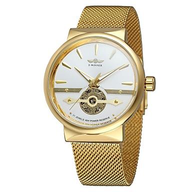 levne Pánské-WINNER Pánské Náramkové hodinky Automatické natahování Nerez Černá / Stříbro / Zlatá 30 m S dutým gravírováním Cool Analogové Klasické Vintage Na běžné nošení Módní - stříbrná / černá Bílá / Zlat