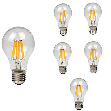 6pcs 8W 760lm E26 / E27 Ampoules à Filament LED A60(A19) 8 Perles LED COB Décorative Blanc Chaud Blanc Froid 220-240V