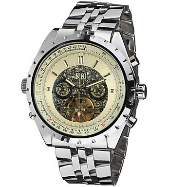 levne Pánské-Jaragar Pánské Náramkové hodinky Automatické natahování Nerez Kalendář Cool Analogové Klasické Na běžné nošení Módní - Černá Stříbrný / bílá Černá / Stříbrná
