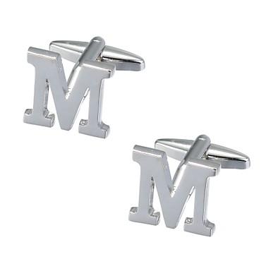 Μανικετόκουμπα Alphabet Shape Romantic Broșă Bijuterii Argintiu Pentru Anul Nou