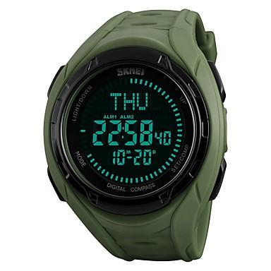 זול שעוני גברים-SKMEI בגדי ריקוד גברים שעוני ספורט שעון יד שעון דיגיטלי Japanese דיגיטלי דמוי עור מרופד שחור / ירוק 50 m עמיד במים Alarm לוח שנה דיגיטלי פאר יום יומי - שחור ירוק שנה אחת חיי סוללה / כרונוגרף / מצפן