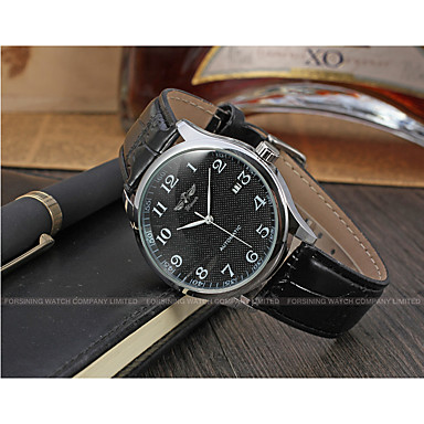 WINNER Men's Wrist Watch Automatic self-winding 30 m Calendar / date / day Leather Band Analog Vintage Casual Fashion Black - White Black / Stainless Steel ...