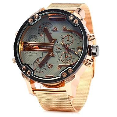 levne Pánské-JUBAOLI Pánské Náramkové hodinky Křemenný Velkoformátové Nerez Růžové zlato Cool Velký ciferník Analogové Světle modrá Žlutá Zelená