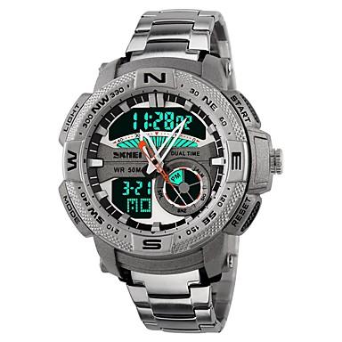 Недорогие Часы на металлическом ремешке-SKMEI Муж. Спортивные часы электронные часы Японский Цифровой Нержавеющая сталь силиконовый Черный / Белый 50 m Защита от влаги Календарь Секундомер Аналого-цифровые Роскошь На каждый день Мода Cool