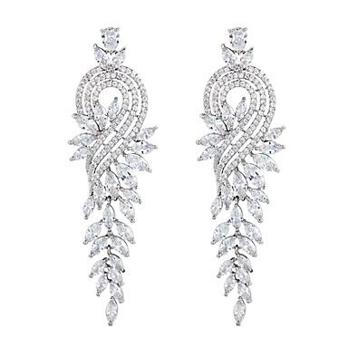 Women S Long Drop Earrings Zircon Silver Leaf Statement Las Elegant Jewelry For Wedding Evening