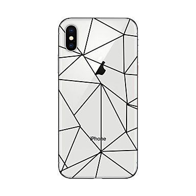Maska Pentru Apple iPhone X iPhone 8 Plus Transparent Model Capac Spate Model Geometric Moale TPU pentru iPhone X iPhone 8 Plus iPhone 8