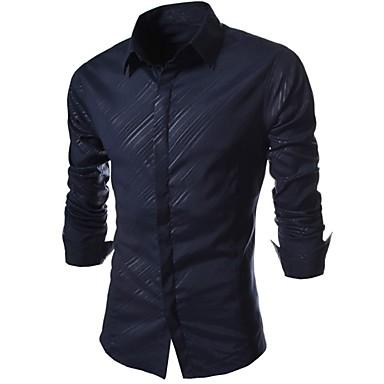 billige Herrers Mode Beklædning-Tynd Herre - Stribet Bomuld Arbejde Skjorte Hvid XL / Langærmet / Forår / Efterår