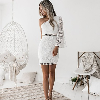 cheap Lace Dresses-Women's Off Shoulder Going out Club Sophisticated Flare Sleeve Mini Sheath Dress - Solid Colored White, Lace One Shoulder Summer White M L XL / Sexy / Skinny
